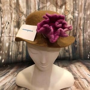 Tan felt fedora bowler hat with accent felt flower